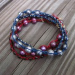 Red and Blue pearl wrap bracelets