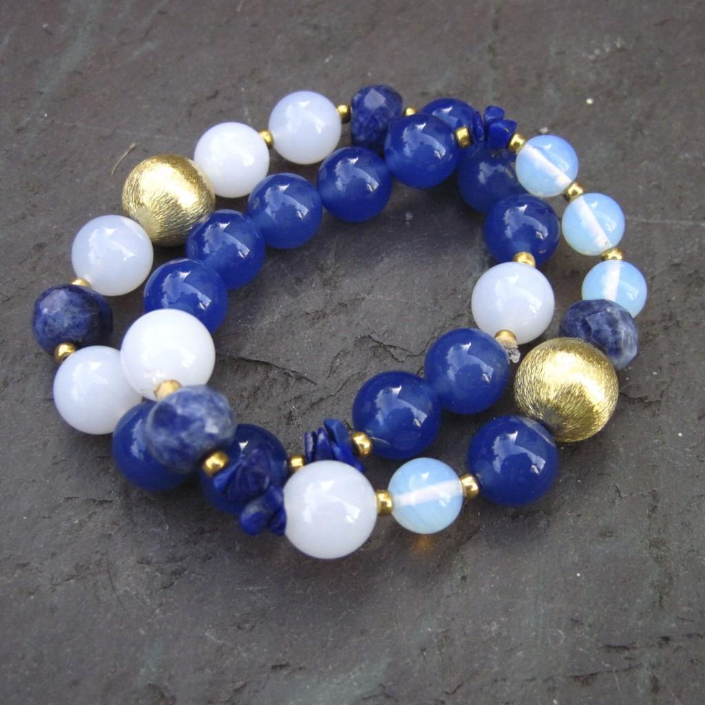Blue and White Stretch Bracelets