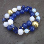 Blue and White Stretch Bracelets