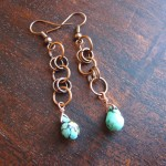 copper chain with turquoise drop earrings
