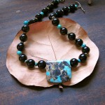 Onyx with Turquoise pendant Necklace