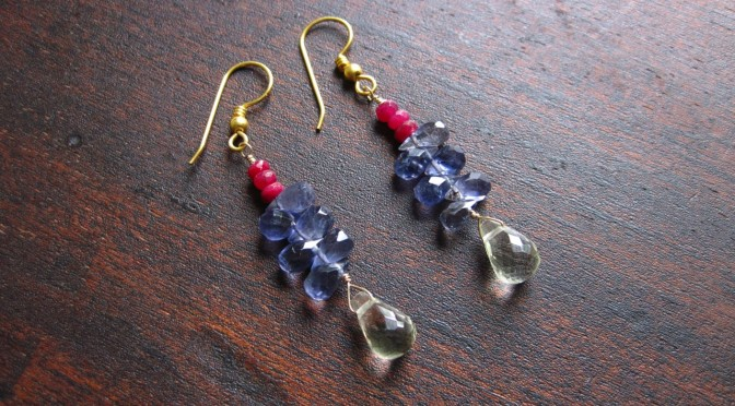 Ruby & Iolite Earrings