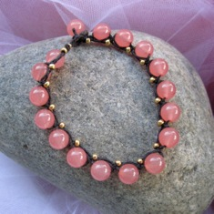 Pink and Gold Braided Bracelet