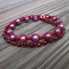 Pink Pearl on Red Wrap Bracelet