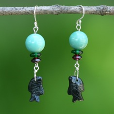 Turquoise with Carved Fish Earrings