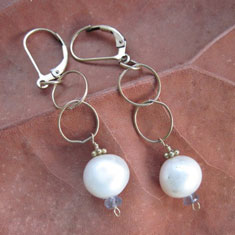 Golden Rings with Pearl Earrings