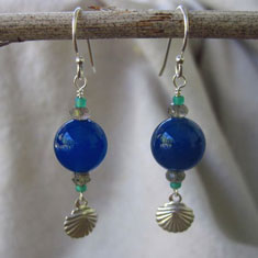Blue Dangles with Silver Shells
