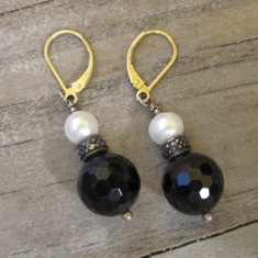 Onyx Marchesite and Pearl Earrings