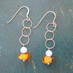 Silver Rings with Amber Amebas