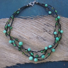 Triple strand vintage green bead necklace