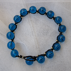 Blue Glass Braided Bracelet
