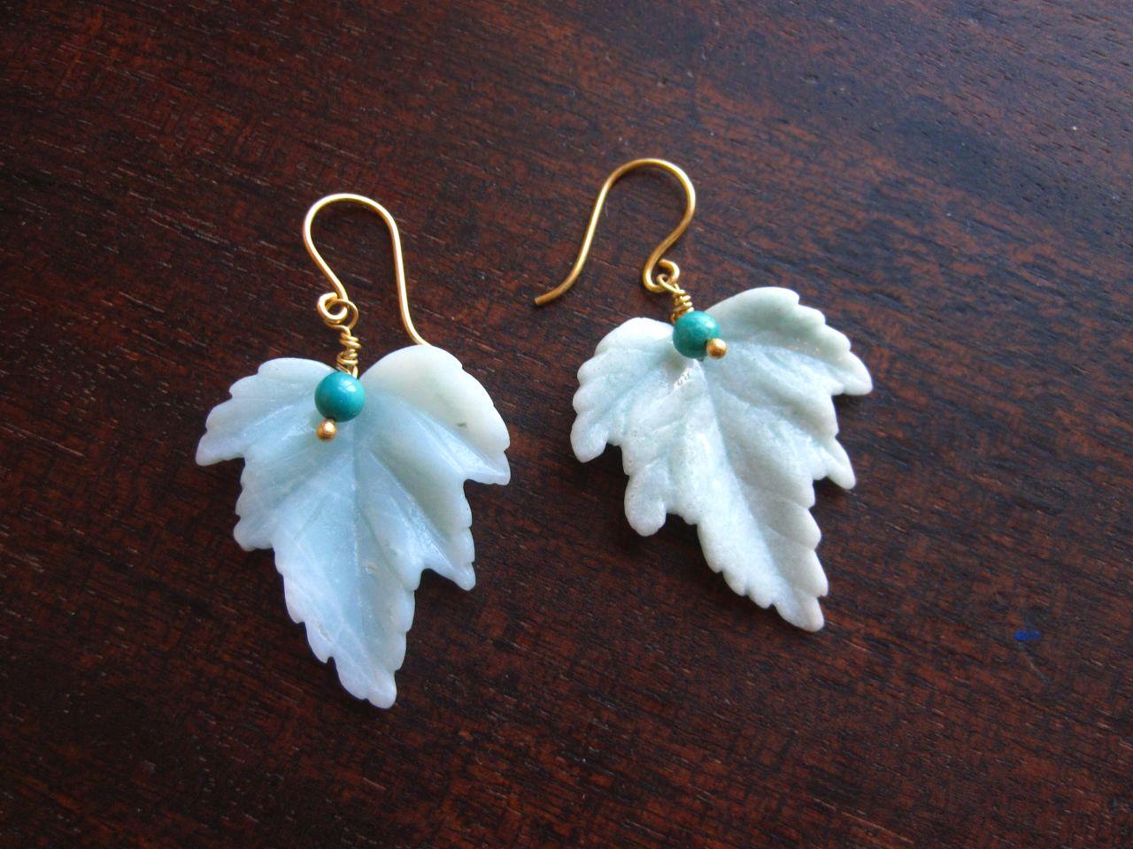 amazonite leaf earrings