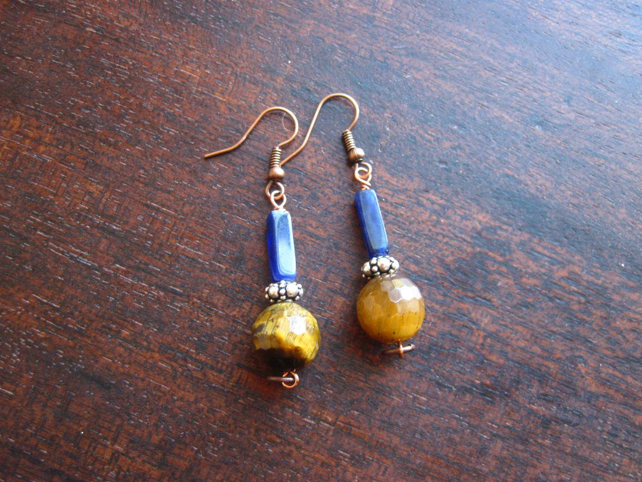 faceted tigereye earrings