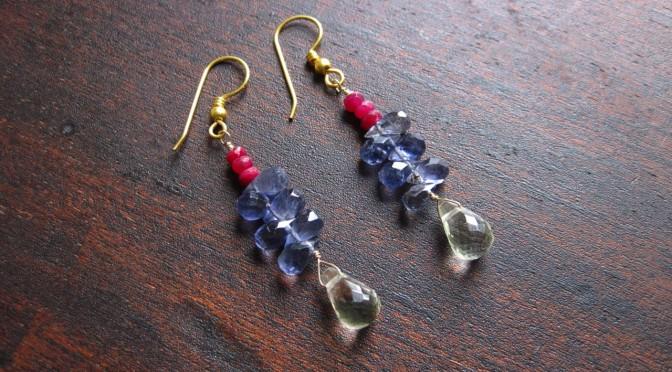 Ruby & Iolite Earrings